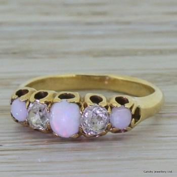 Victorian 0.50 Carat Old Cut Diamond & Opal Five Stone Ring, circa 1870