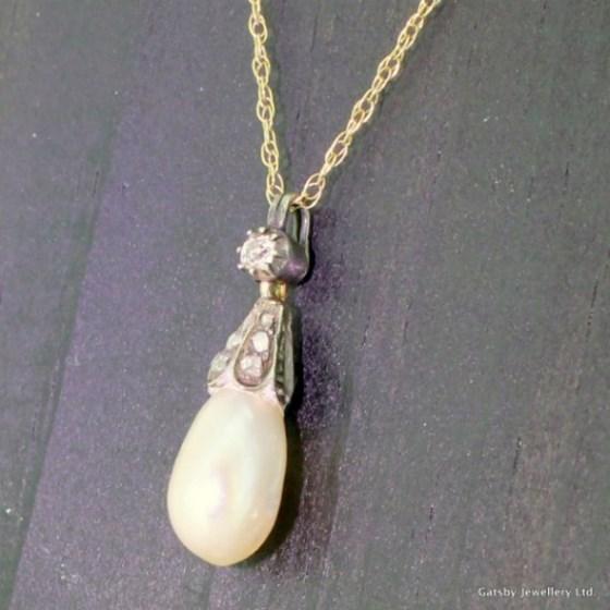 Early Victorian Natural Pearl & Diamond Pendant, circa 1850