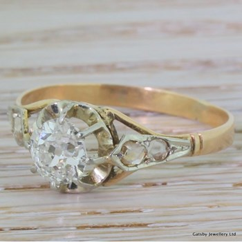 Art Deco 0.92 Carat Old Cut Diamond Engagement Ring, circa 1915
