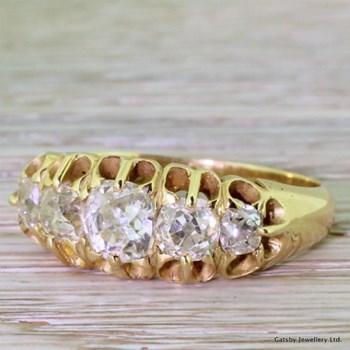 Victorian 2.00 Carat Old Mine Cut Diamond Five Stone Ring, circa 1880