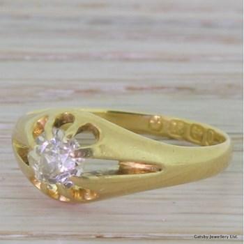 Victorian 0.65 Carat Old Cut Diamond Ring, Birmingham, dated 1888
