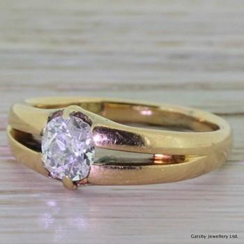 Victorian 0.92 Carat Old Cut Diamond Gypsy Ring, circa 1900