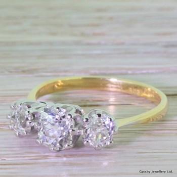 Art Deco 2.00 Carat Old Cut Diamond Trilogy Ring, circa 1915