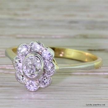 Edwardian 0.90 Carat Old Mine Cut Diamond Cluster Ring, circa 1910
