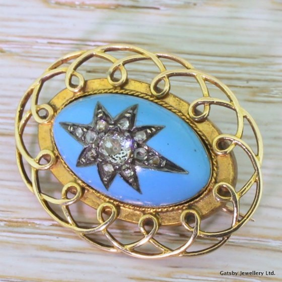 Victorian 0.56 Carat Old Cut Diamond & Turquoise Enamel Brooch, circa 1870
