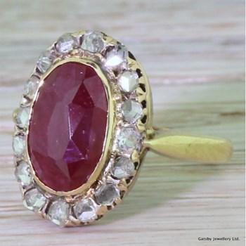 Victorian 4.00 Carat Ruby & Rose Cut Diamond Cluster Ring, circa 1870