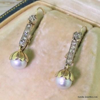Victorian Natural Grey Pearl & Rose Cut Diamond Drop Earrings, circa 1880