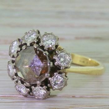 Georgian 1.32 Carat Natural Cognac Rose Cut Diamond Cluster Ring, circa 1810