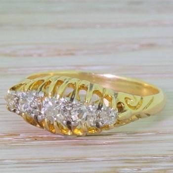 Victorian 0.45 Carat Old Mine Cut Diamond Five Stone Ring, circa 1900