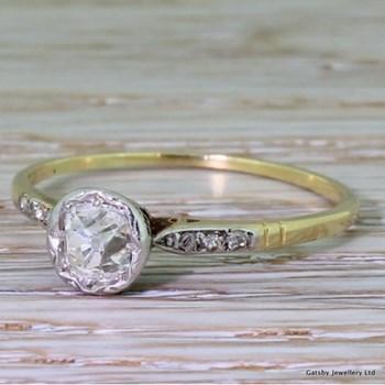 Edwardian 0.70 Carat Old Mine Cut Diamond Engagement Ring, circa 1910