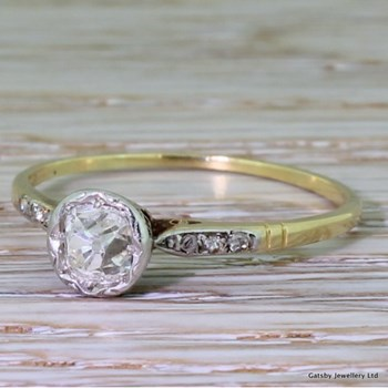 Edwardian 0.70 Carat Old Mine Cut Diamond Engagement Ring, circa 1910