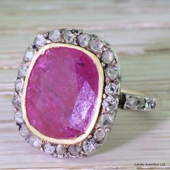 Victorian 4.50 Carat Ruby & Rose Cut Diamond Cluster Ring, circa 1870