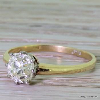 Edwardian 1.07 Carat Diamond Solitaire Engagement Ring, circa 1905