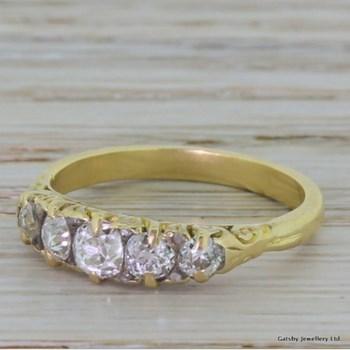 Victorian 1.00 Carat Old Cut Diamond Five Stone Ring, circa 1900
