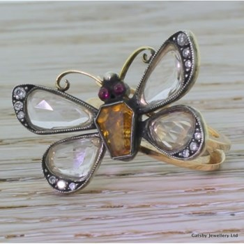 "Early Victorian 1.50 Carat Rose Cut Diamond ""Butterfly"" Ring, circa 1850"