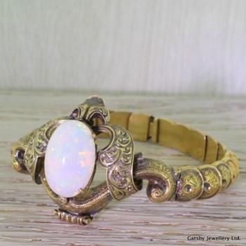 Early Victorian 10.00 Opal Ornate Filigree Bracelet, circa 1840