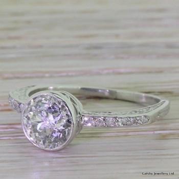 """Edwardian 1.51 Carat Old Cut Diamond """"Filigree"""" Engagement Ring, circa 1910"""