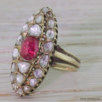 "Georgian Ruby & Rose Cut Diamond ""Navette"" Ring, circa 1830"