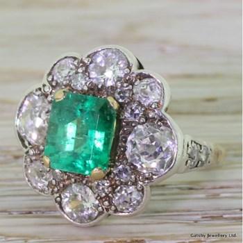 Victorian 2.00 Carat Emerald & 2.75 Carat Old Cut Cluster Ring, circa 1880