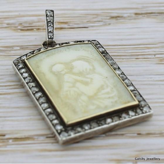 """Georgian Ivory & Diamond """"Mary & Jesus"""" Pendant, circa 1830"""