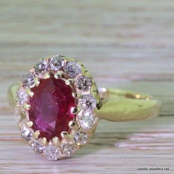 Victorian 1.25 Carat Ruby & 0.45 Carat Old Cut Diamond Cluster Ring, circa 1900