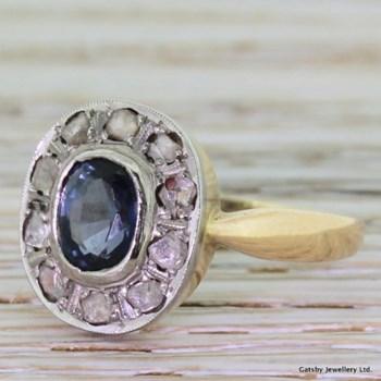 Edwardian Blue Topaz & Rose Cut Diamond Cluster Ring, circa 1915