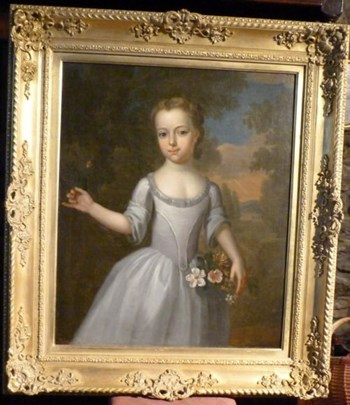Portrait of a Young Girl with Flowers c.1750; Attributed to Thomas Bardwell