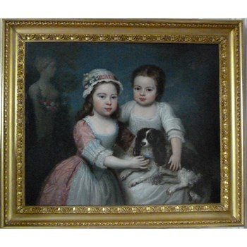 Portrait of Two Young Girls and Their Spaniel c. 1800, English School.