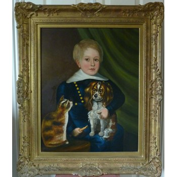Portrait of a Boy with his Pets c.1850; Provincial English School.