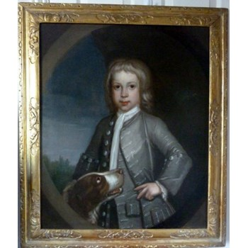 Portrait of a Young Boy with a Dog c.1740; English School.