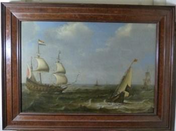 Dutch Shipping in Choppy Waters c.1650, by Claes Claesz. Wou.