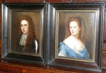 Pair of portraits of William and Sarah Yorke c.1680; Circle of John Riley.
