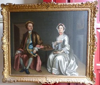 Double Portrait of a Lady and Gentleman c.1740; Attributed to Francis Hayman R.A.