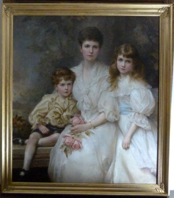Triple Portrait of The Hon. Mrs. Denham - Cookes and Her Children 1896, by Edward Hughes.