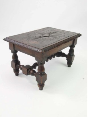 Small Antique Victorian Gothic Footstool