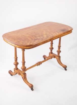Antique Victorian Satin Walnut Hall Table