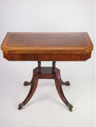 Antique George III Mahogany & Satinwood Card Table