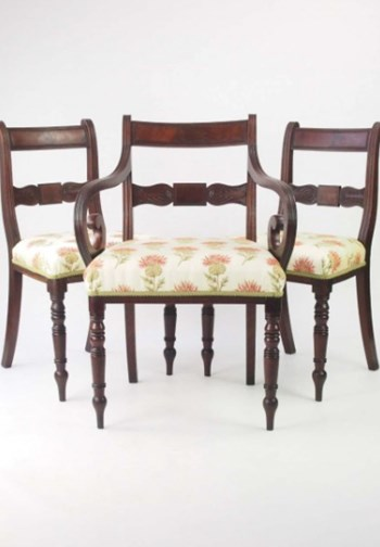 Set 3 Antique Mahogany Regency Chairs