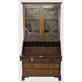 George III Mahogany Bureau Bookcase