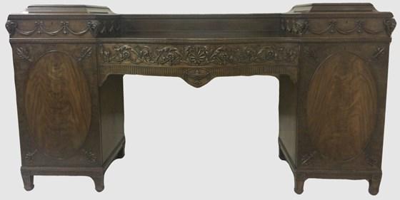 Carved Mahogany Pedestal Sideboard