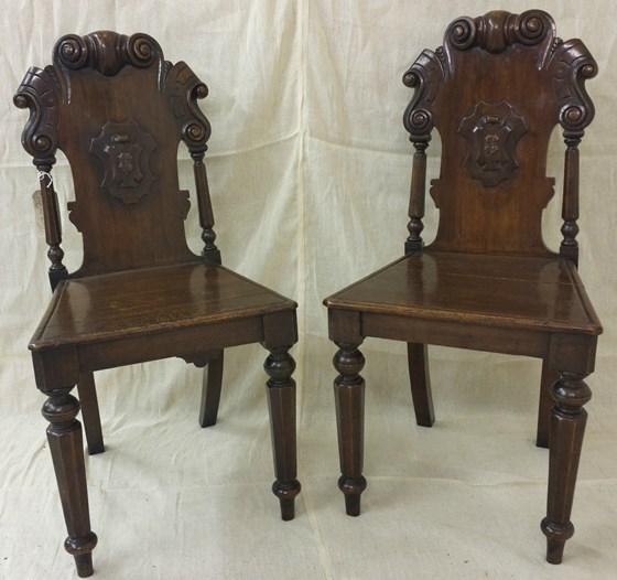 Pair of Mahogany Hall Chairs