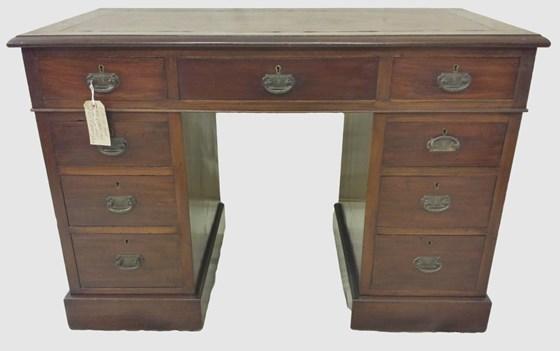 Victorian Mahogany Twin Pedestal Desk
