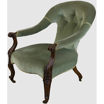 Early Victorian Button Back Open Arm Chair