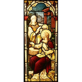 Antique Church Hand Painted Stained Glass Window