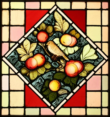 Antique Victorian Leaded Hand Painted Stained Glass Window - Birds & Apples