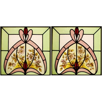 2 Edwardian Hand Painted Stained Glass Windows