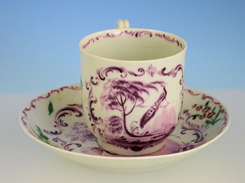 RARE EARLY WORCESTER PEACOCK COFFEE CUP & SAUCER WORCESTER PORCELAIN c1758.