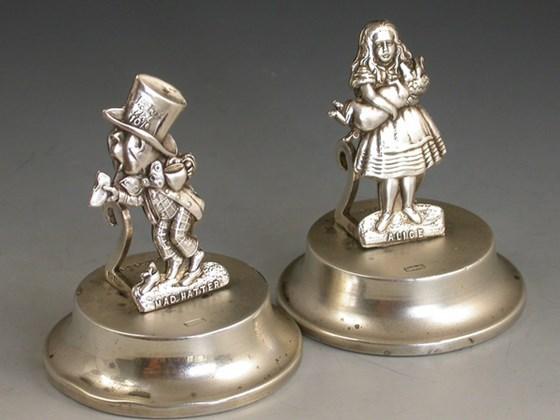 PAIR EDWARDIAN NOVELTY ANTIQUE SILVER ALICE & MADHATTER MENU HOLDERS LEVI & SALAMAN, BIRMINGHAM 1906