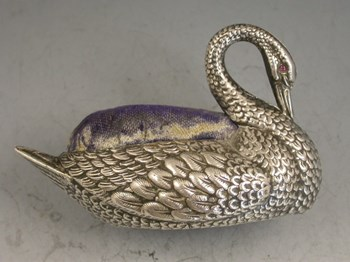 Early 20th century Novelty silver Swan Pin Cushion