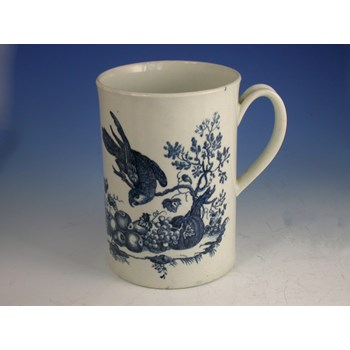 FIRST PERIOD WORCESTER 'PARROT PECKING FRUIT PATTERN' TANKARD WORCESTER PORCELAIN c1775